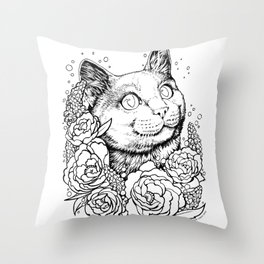 Color-Me Feline: English Short Hair Throw Pillow