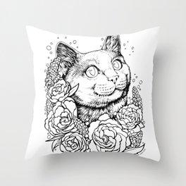 Color-Me Feline: English Short Hair Throw Pillow