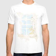 Cat Smelling Flower MEDIUM Mens Fitted Tee White