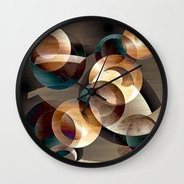Autumn Circles Abstract Wall Clock