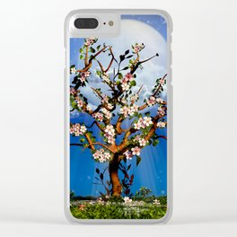 Cherry Tree Blossom under the moonlight Clear iPhone Case