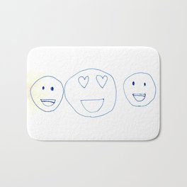 Smiley Faces with Heart Eyes Bath Mat