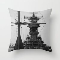 wisconsin Throw Pillows featuring USS Wisconsin by Kelly Stiles