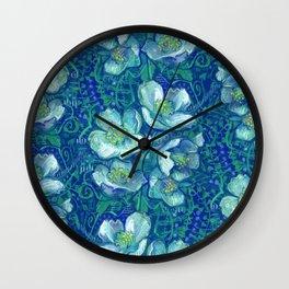 Jasmine Bloom Vintage Floral Pattern Green Blue Wall Clock