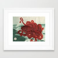 octopus Framed Art Prints featuring Octopus Beach by Chase Kunz