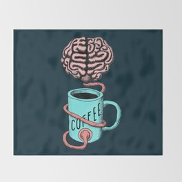 Coffee for the brain. Funny coffee illustration Throw Blanket