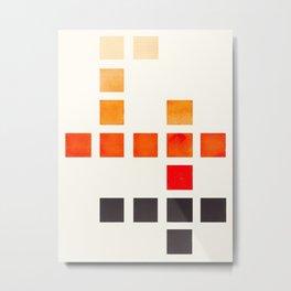 Colorful Minimalist Orange Mid Century Modern Minimalist Square Geometric Pattern Metal Print