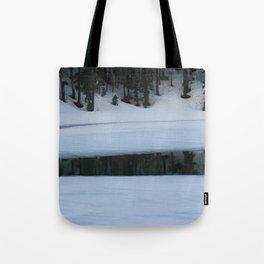 Snow. Stripes. Fogged Mirror. Tote Bag