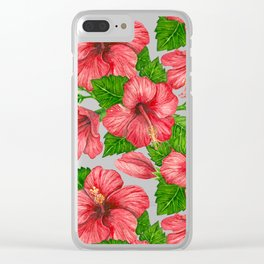 Red hibiscus watercolor pattern Clear iPhone Case