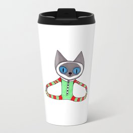 Cute Siamese Cat in his Red and Green Striped Christmas Pajamas Travel Mug