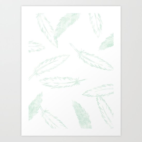 Painted Feathers - in Mint Art Print