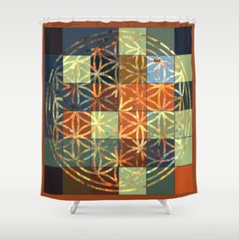 Flower Of Life Modern Squares Mosaic Shower Curtain