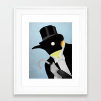 penguin Framed Art Prints featuring Penguin by Chase Kunz