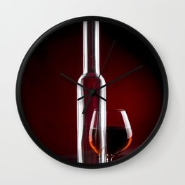 Still life with a glass bottle and a glass Wall Clock