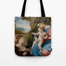 Lorenzo Lotto - Madonna and Child with Two Donors Tote Bag