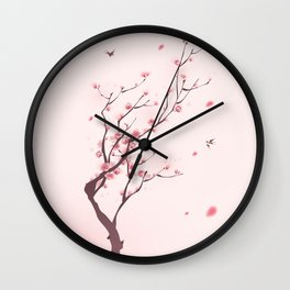 Oriental cherry blossom in spring 003 Wall Clock