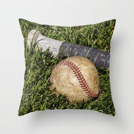 Baseball and Bat on Grass 1 Throw Pillow