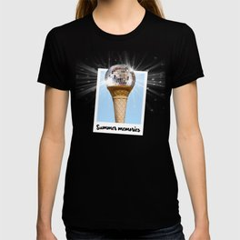 Summer Memories - Ice cream with disco ball in photo frame in blue T-shirt