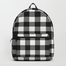 Black and White Country Buffalo check with digital canvas texture Backpack