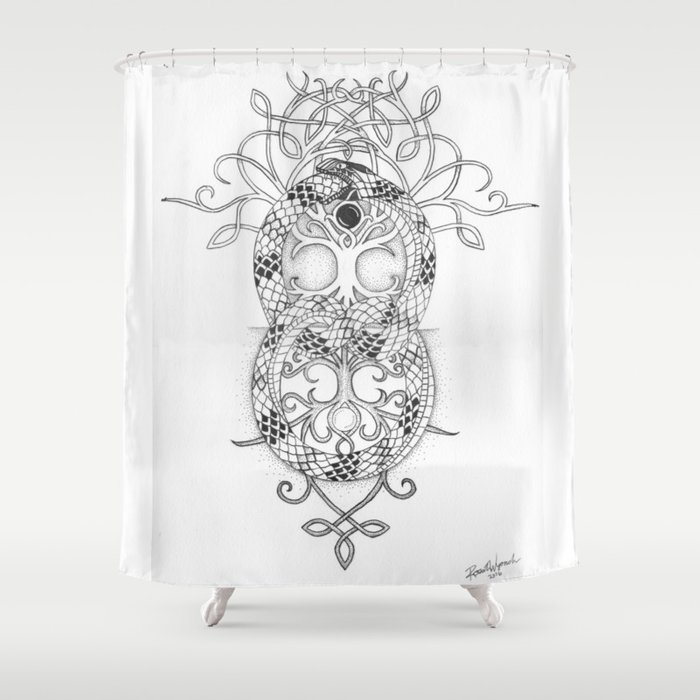 Ouroboros Tree Of Life Shower Curtain By Rosaliewyonch