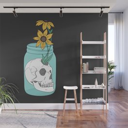 Skull in Jar with Flowers Wall Mural
