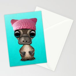 Cute Baby Platypus Wearing Pussy Hat Stationery Cards