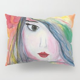 Pretty Girl. Yellow Pink and Green Girl Painting by Jodi Tomer. Figurative Abstract Pop Art. Pillow Sham