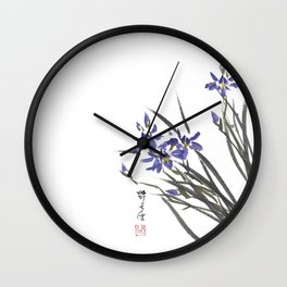 Blue Iris Orchid One Wall Clock
