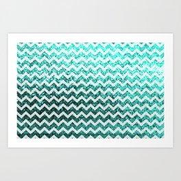 Glitter Sparkly Bling Chevron Pattern (aqua) Art Print