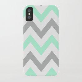 MINT & GRAY CHEVRON iPhone Case