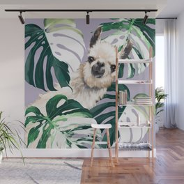 Llama with Variegated Monstera albo #1 Wall Mural