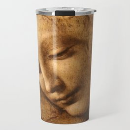 Head of a Woman Painting by Leonardo da Vinci Travel Mug