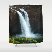 waterfall Shower Curtains featuring Waterfall by Vikki Skye