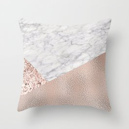 Expensive pink - rose gold marble Throw Pillow