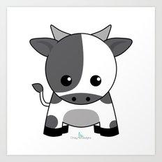 Kawaii Zodiac Cow Art Print
