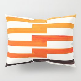Orange & Black Geometric Minimal Mid Century Modern Lightning Bolt Pattern Watercolor Art Pillow Sham