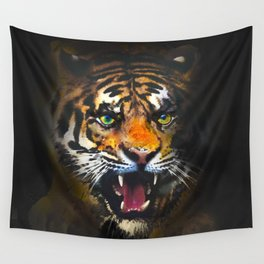 tiger in the dark Wall Tapestry
