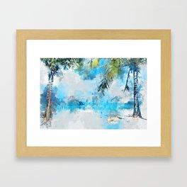 coconut palm tree Framed Art Print