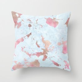 Rose Gold Foil on Summer Blue Marble Throw Pillow