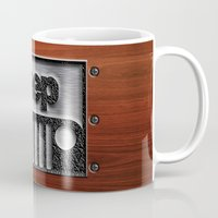 jeep Mugs featuring Embossed Steel Jeep logo with wood background iPhone 4 4s 5 5c 6, pillow case, mugs and tshirt by Three Second