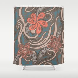 Polynesian Coral Tribal Theads Shower Curtain