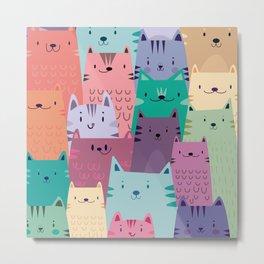 Pastel Cats Metal Print