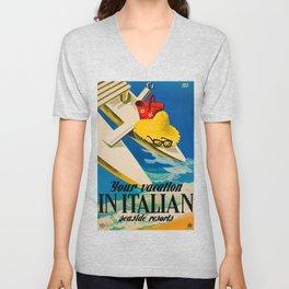 Vintage Italian Seaside Resorts Travel Ad Unisex V-Neck