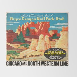 Vintage poster - Bryce Canyon Throw Blanket