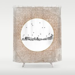 Barcelona, Spain City Skyline Illustration Drawing Shower Curtain