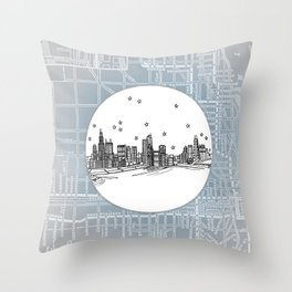 Chicago, Illinois City Skyline Illustration Drawing Throw Pillow