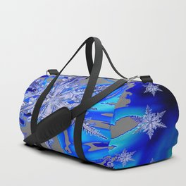 MODERN ROYAL BLUE WINTER SNOWFLAKES GREY ART Duffle Bag