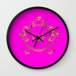 VIP in Hot Pink and Goldtones Wall Clock