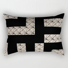Black and Tan Art Deco Rectangular Pillow