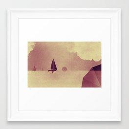 Sailing boats love ocean Framed Art Print